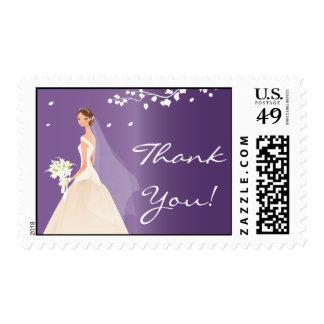 La novia púrpura elegante le agradece ducha estampilla