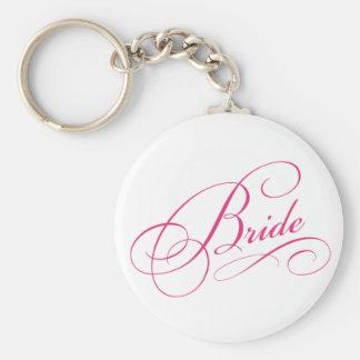 La NOVIA rosada a ser cursive elegante personalizó Llaveros Personalizados