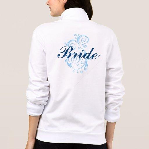 La novia, voluta azul relampaga para arriba la chaqueta imprimida