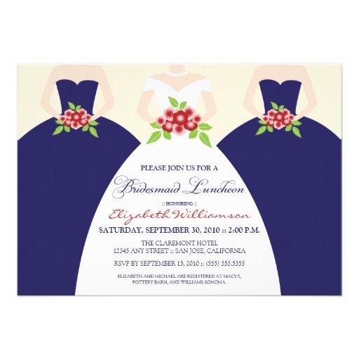 La novia y el alumerzo nupcial de las damas de hon invitación personalizada