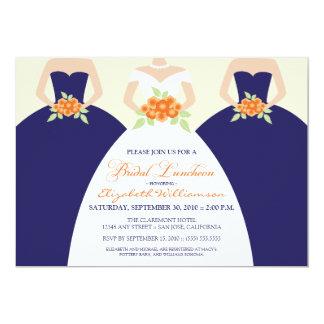 La novia y el alumerzo nupcial de las damas de invitación personalizada