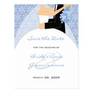 La novia y el novio del invierno ahorran las posta postales