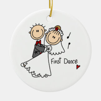 La novia y el novio primero bailan las camisetas y ornamento para arbol de navidad