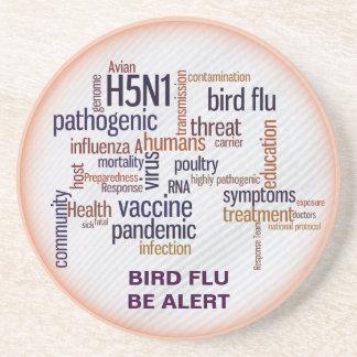 La nube de la palabra de la pluma de la gripe avia posavasos para bebidas