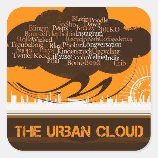 La nube urbana pegatina cuadrada