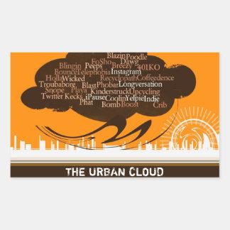 La nube urbana pegatina rectangular