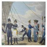 La nueva marina de guerra austríaca real imperial  azulejo cuadrado grande