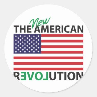 La nueva revolución americana pegatina redonda