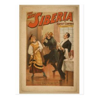 """La nueva Siberia, """"pagaré ella!"""" Teatro retro Tarjeta Postal"""
