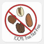 La nuez 100% del árbol libera calcomanías cuadradas