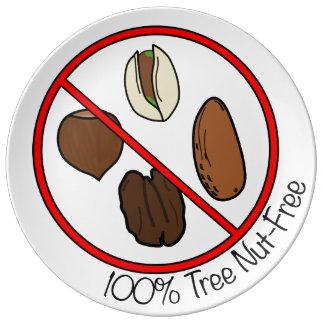 La nuez 100% del árbol libera plato de cerámica