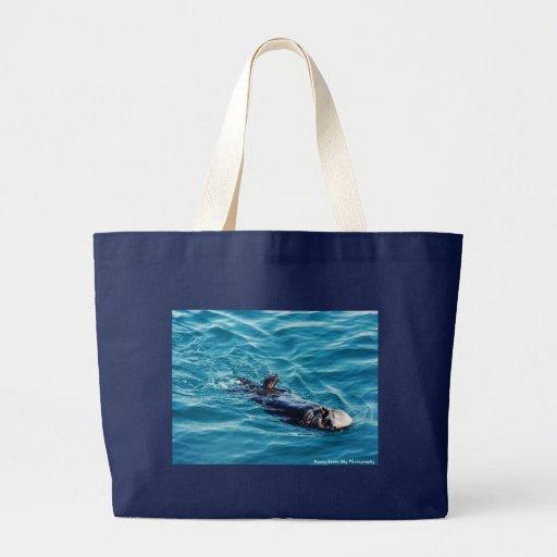 La nutria de mar adorable recicla el bolso de comp bolsa tela grande