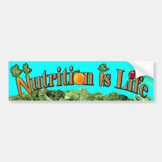La nutrición es vida pegatina para auto