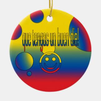 ¡La O.N.U Buen Día de Que Tengas! Colores de la Adorno Redondo De Cerámica