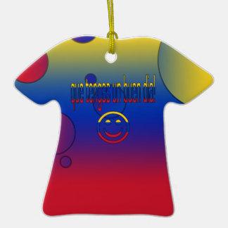 ¡La O.N.U Buen Día de Que Tengas! Colores de la Adorno De Cerámica En Forma De Playera