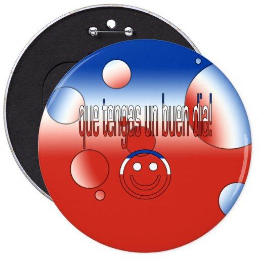 ¡La O.N.U Buen Día de Que Tengas! La bandera de Ch Pin Redondo 15 Cm