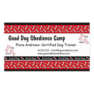 La obediencia del perro clasifica tarjetas de tarjetas de visita
