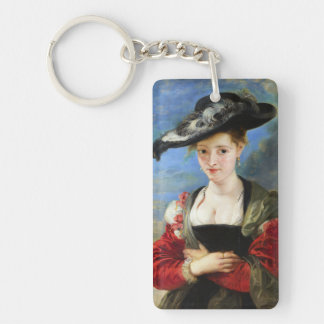 La obra maestra de Peter Paul Rubens del gorra de Llavero Rectangular Acrílico A Doble Cara