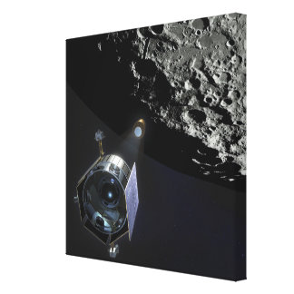 La observación del cráter lunar impresión de lienzo