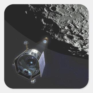 La observación del cráter lunar pegatina cuadrada