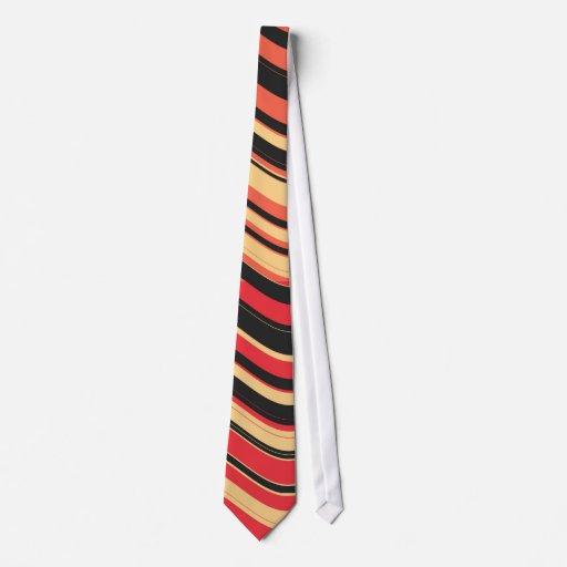 La onda colorida retra raya el arte decorativo 2 corbata personalizada
