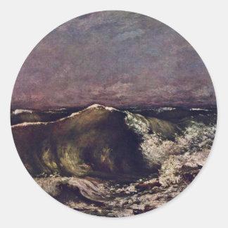 La onda de Courbet Gustavo Pegatina Redonda