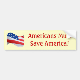 ¡La onda de la bandera, americanos debe ahorrar Am Pegatina Para Auto