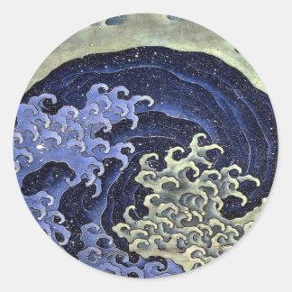 La onda femenina de Hokusai Etiquetas Redondas
