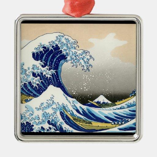 La onda grande de Kanagawa Katsushika Hokusai Adorno Navideño Cuadrado De Metal