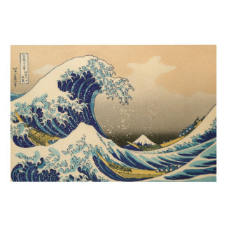 La onda grande de Kanagawa Katsushika Hokusai Cuadro De Madera