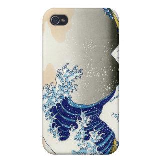 La onda grande de Kanagawa Katsushika Hokusai iPhone 4 Carcasas