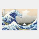 La onda grande de Kanagawa Katsushika Hokusai Rectangular Pegatina