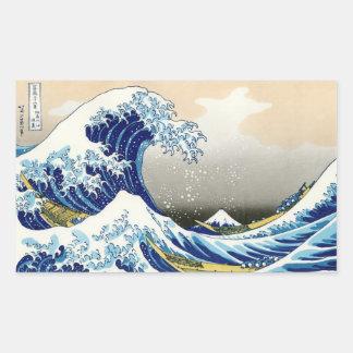 La onda grande de Kanagawa Katsushika Hokusai Pegatina Rectangular