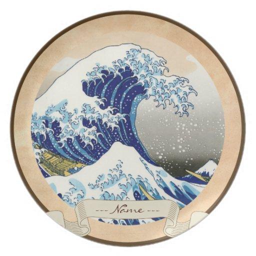 La onda grande de Kanagawa Katsushika Hokusai Plato Para Fiesta