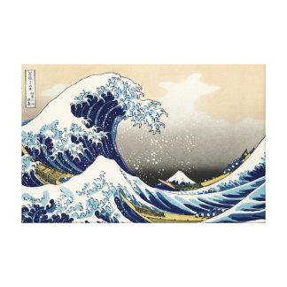 La onda grande de la impresión de la lona de impresión en lienzo estirada