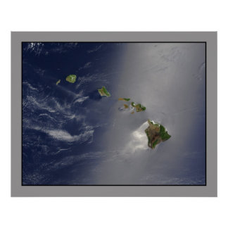 La opinión aérea del archipiélago de Hawaii Poster
