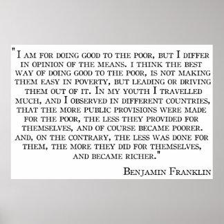 La opinión de Benjamin Franklin sobre el poster de