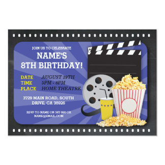 """La opinión de fiesta de cumpleaños del cine de la invitación 5"""" x 7"""""""