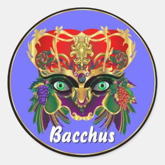 La opinión del Bacchus de la mitología del Pegatina Redonda