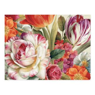 La opinión del jardín lanzó las flores postal
