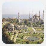 La opinión el sultán Ahmet Camii construyó 1609-16 Calcomanía Cuadrada