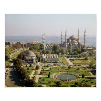La opinión el sultán Ahmet Camii construyó 1609-16 Póster