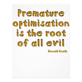 """La optimización prematura es la raíz de todo el ma folleto 8.5"""" x 11"""""""