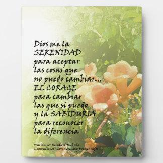 La Oración de la Serenidad en Español Plaque