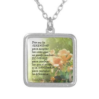 La Oración de la Serenidad en Español Silver Plated Necklace