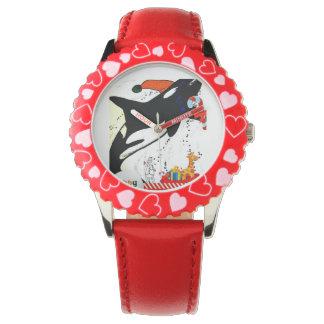 La orca con el bastón de caramelo embroma el reloj