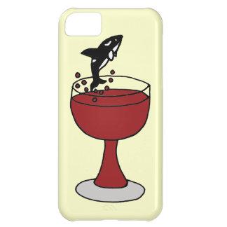 La orca que salta en copa de vino roja funda para iPhone 5C