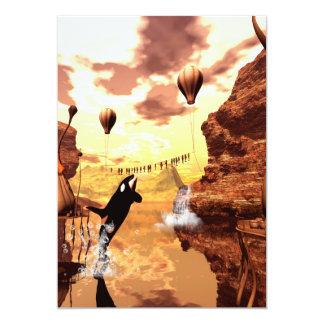 """La orca salta para un pescado, un mundo de invitación 5"""" x 7"""""""