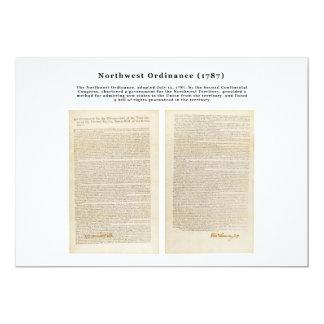 """La ordenanza del noroeste 1787 invitación 5"""" x 7"""""""