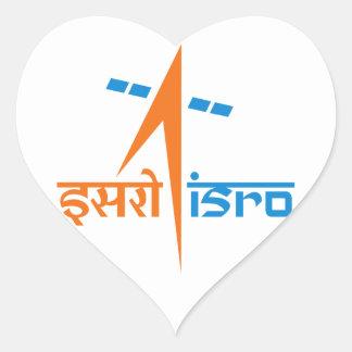 La organización de investigación india del espacio pegatina en forma de corazón